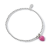 Enamel Pink Heart Charm with Sterling Silver Ball Bead Bracelet
