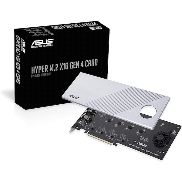 Image of Asus Hyper M.2 x16 Gen 4 Card (PCIe 4.0/3.0), Supports four NVMe M.2 Devices & PCIe 4.0 NVMe RAID and Intel RAID-on-CPU