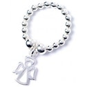 Angel Charm with Sterling Silver Ball Bead Ring