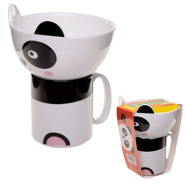 Cute Panda (Pack Of 4) Children's New Bone China Mug and Bowl Set