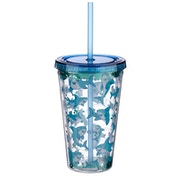 Fun Shark Design Glitter Double Walled Cup with Lid and Straw
