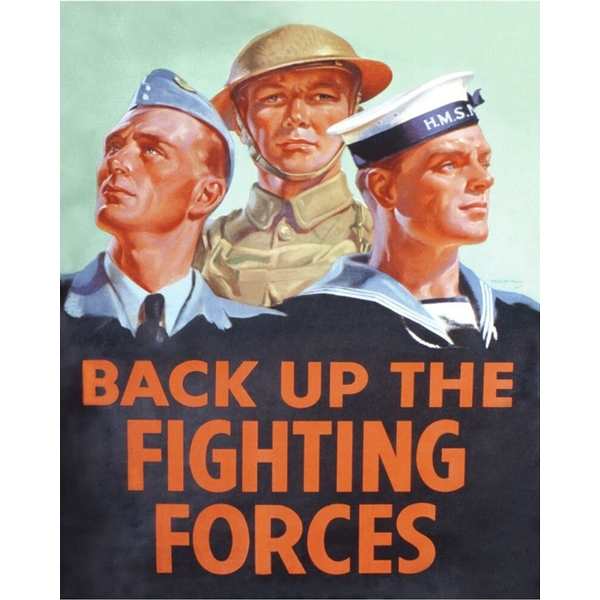 Vintage Metal Sign Retro Propaganda Back Up The Fighting Forces