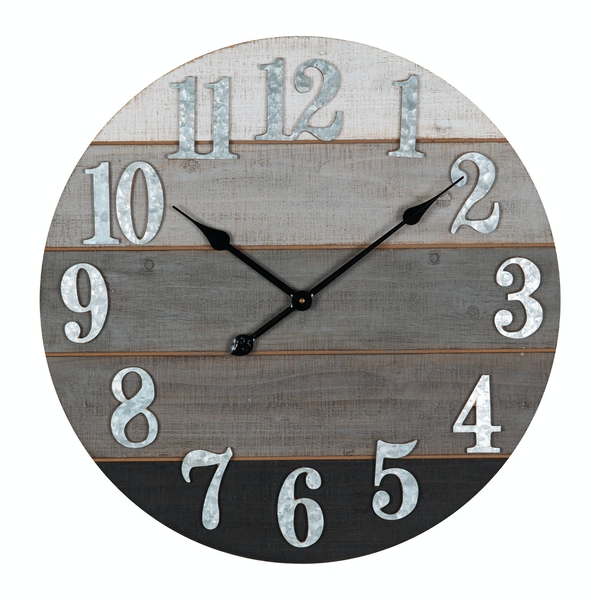HOMETIME Round Wooden Wall Clock with Metal Numbers 60cm