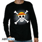 One Piece - Skull With Map Men's Large Long Sleeve T-Shirt - Black