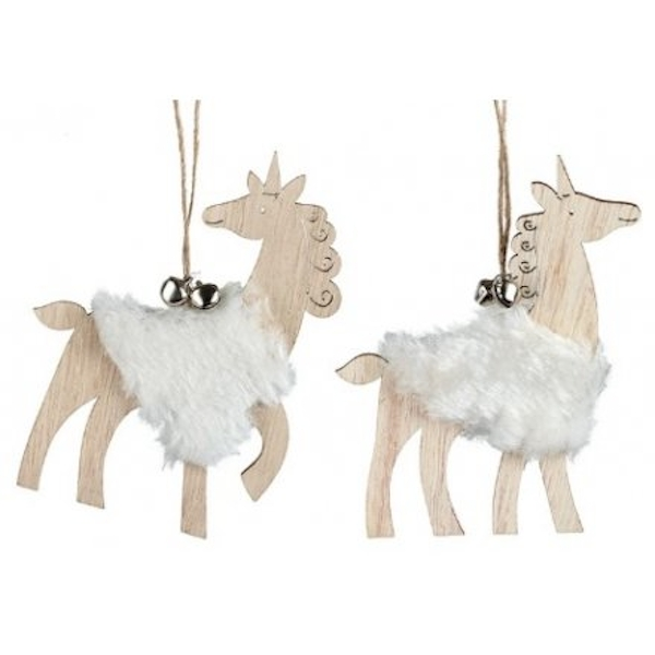 Natural Wooden Hanging Unicorns