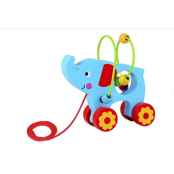 Elephant with Beads Wooden Pull Along Toy