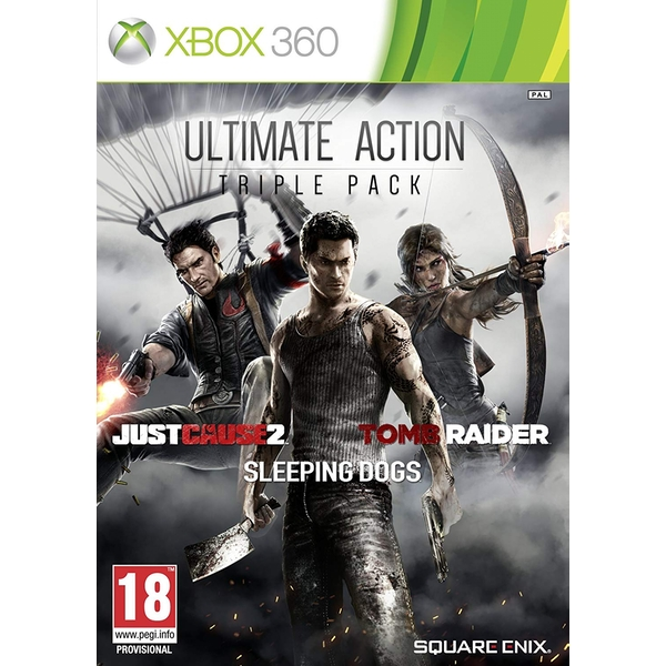 Ultimate Action Triple Pack (Tomb Raider/Just Cause 2/ Sleeping Dogs) Xbox 360 Game [Used - Like New]
