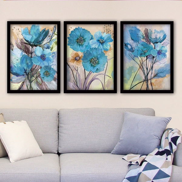 3SC85 Multicolor Decorative Framed Painting (3 Pieces)