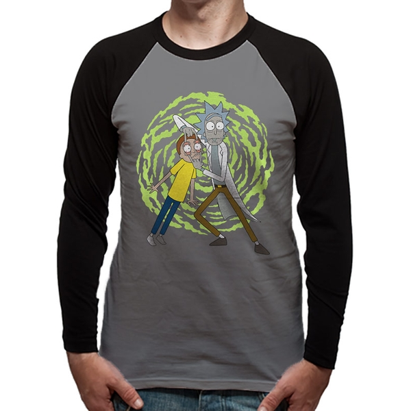 Rick And Morty - Spiral Men's Large Long Sleeved Baseball T-Shirt - Grey