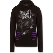 Bright Eyes Women's X-Large Ripped Hoodie - Purple/Black
