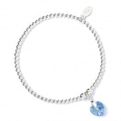 Aqua Swarovski Crystal Heart with Sterling Silver Ball Bead Bracelet