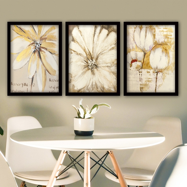 3SC151 Multicolor Decorative Framed Painting (3 Pieces)