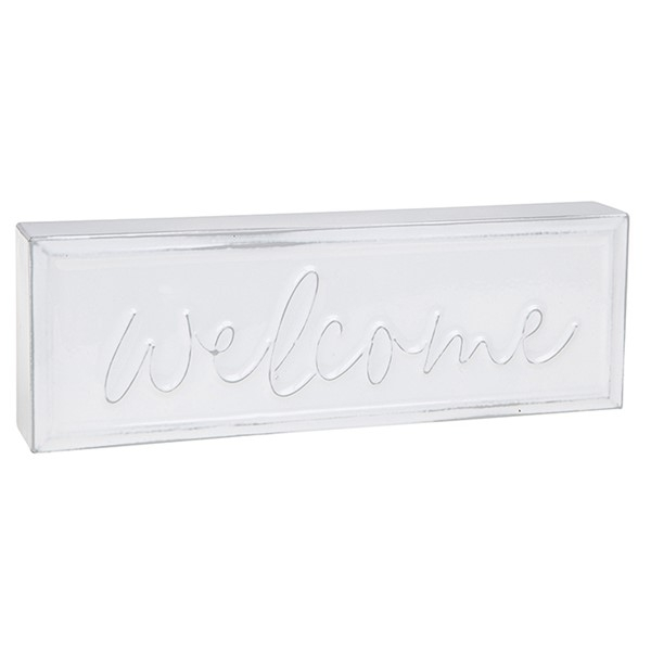 Homestyle Standing Metal Plaque Welcome