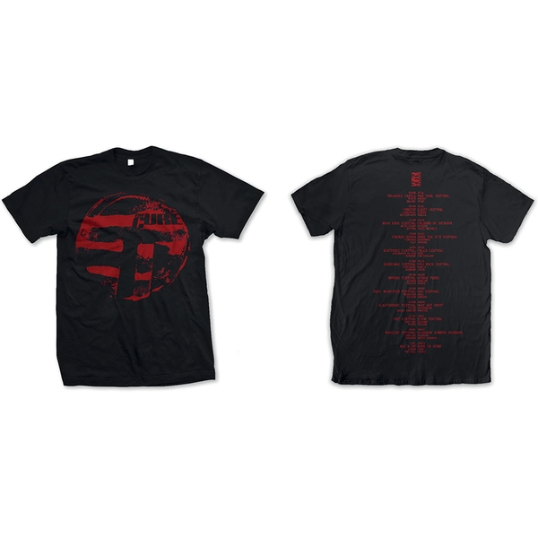 The Cure - Eastern Red Logo Unisex Large T-Shirt - Black