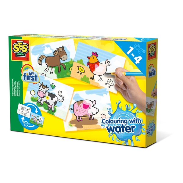 SES Creative - Children's My First Colouring with Water Farm Animals Set (Multi-colour)