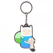 Adventure Time Sitting Finn Rubber Keychain - Blue