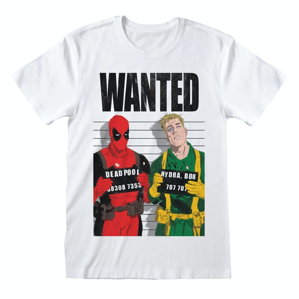 Marvel Comics Deadpool - Wanted Unisex XX-Large T-Shirt - White
