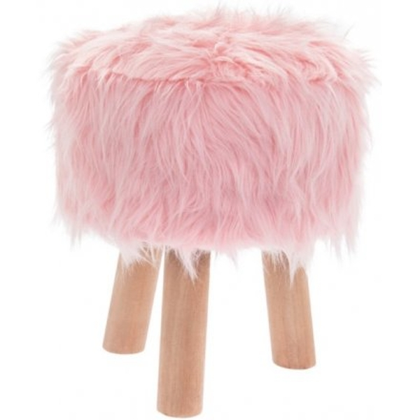 Faux Fluffy Pink Stool