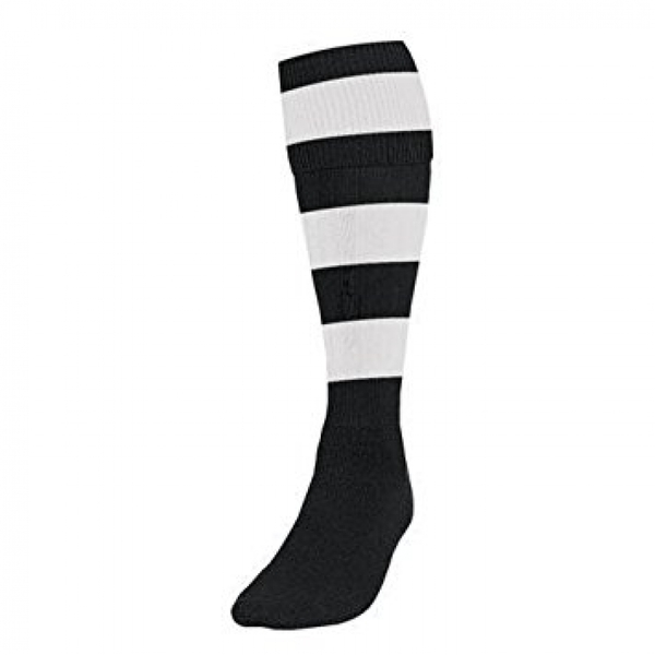 Precision Hooped Football Socks Boys Black/White