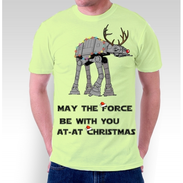 Star Wars Christmas Walker May The Force Be With You Bright Green T-Shirt Small ZT