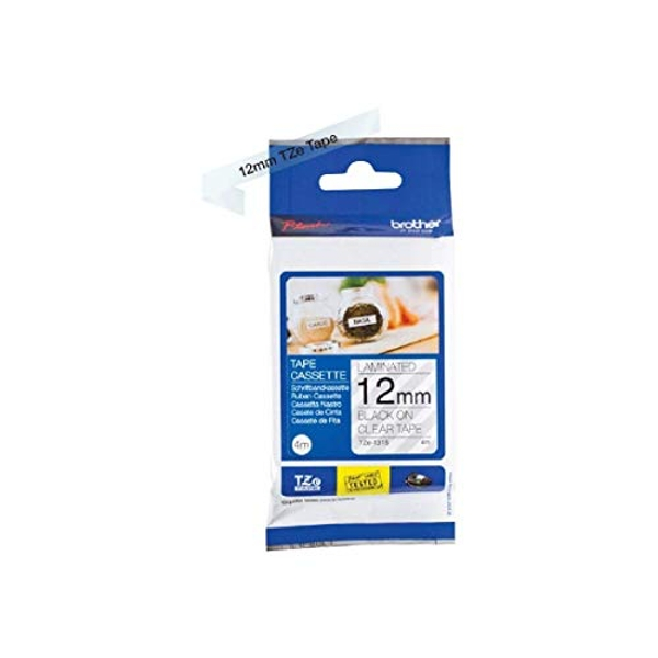 Brother TZe-131S Labelling Tape Cassette, Black on Clear, 12mm (W) x 4M (L), Laminated, Brother Genuine Supplies