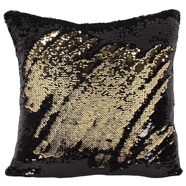 Black and Gold Reversible Sequin Filled Cushion