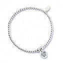 Footprints with Sterling Silver Ball Bead Bracelet