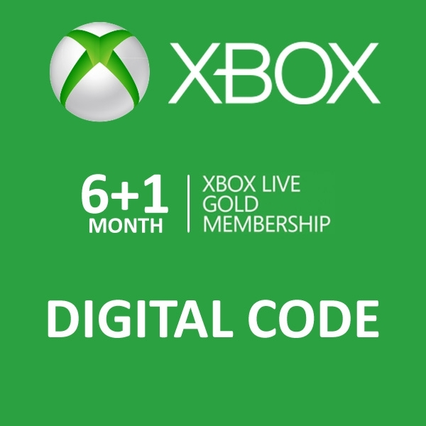 Xbox Live Gold 6 + 1 Month Membership Card Xbox 360 and Xbox One Digital Download