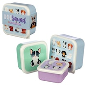 Dog Squad Design Set of 3 Plastic Lunch Box