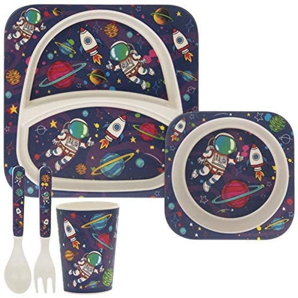 5 Piece Kiddies Bamboo Eating Set Spaceman Design By Lesser & Pavey