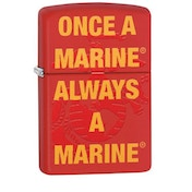 Zippo U.S. Marine Corps. Once a Marine Always a Marine Red Matte Finish Windproof Lighter