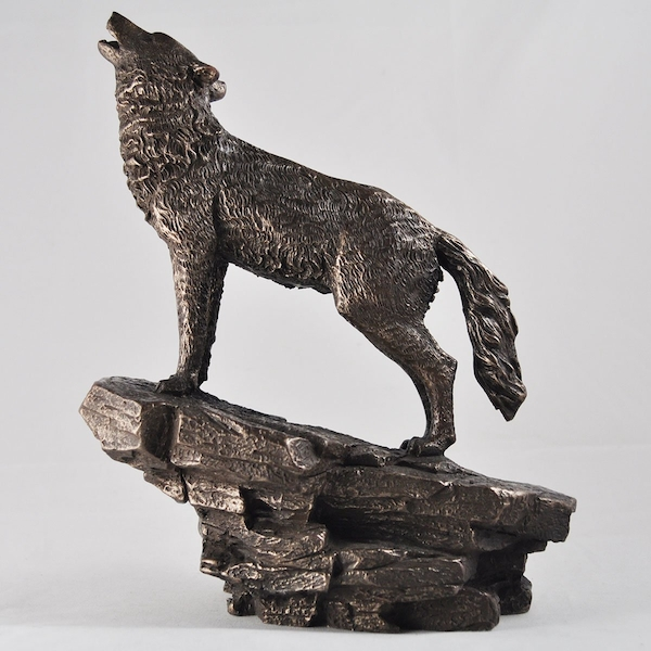 Howling Wolf Cold Cast Bronze Sculpture