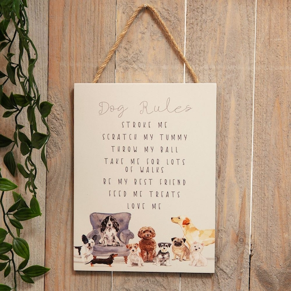 Best of Breed Wooden Hanging Dog Rules Plaque