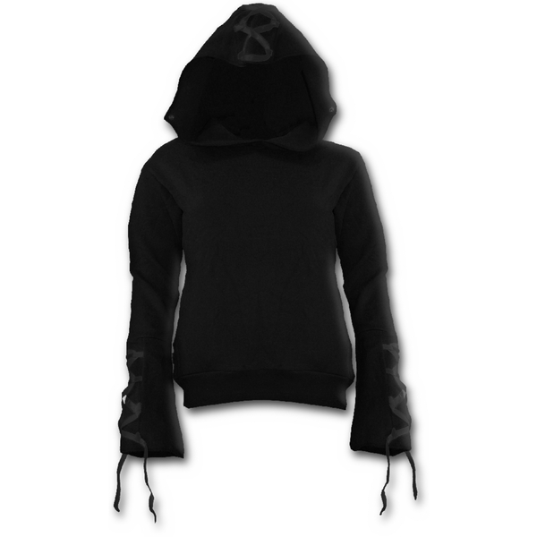 Gothic Elegance Black Ribbon Gothic Women's X-Large Hoodie - Black