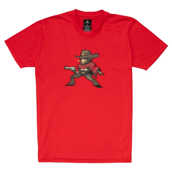 Overwatch - Mccree Pixel Unisex Large T-Shirt - Red