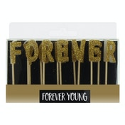 Signography Gold Letter Candles - Forever Young