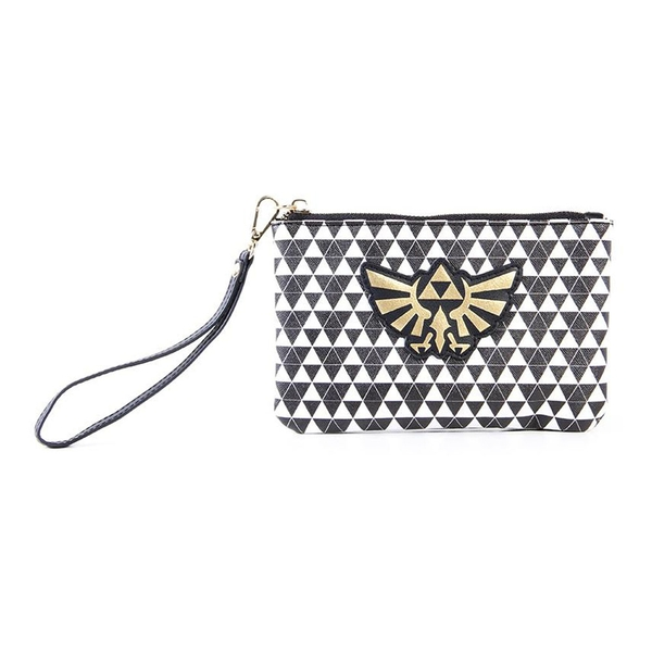 Nintendo - Hyrule Royal Crest With All-Over Pattern Unisex Coin Purse - Black/White