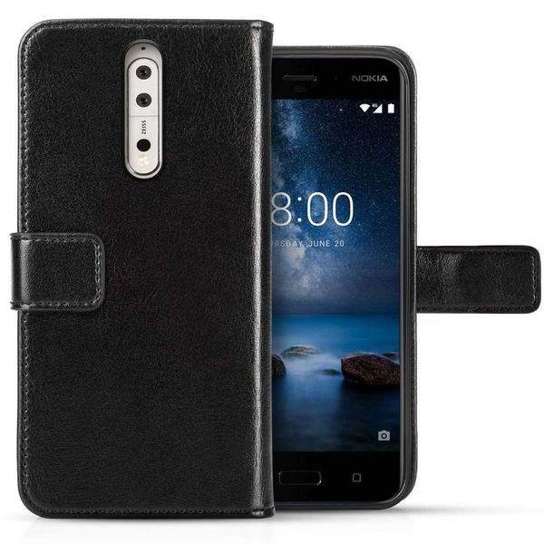 Nokia 8 Real Leather Wallet Case with ID Slots - Black