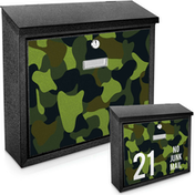 Green Camouflage Printed Mail Box - add your  house number / name for a unique mail box!