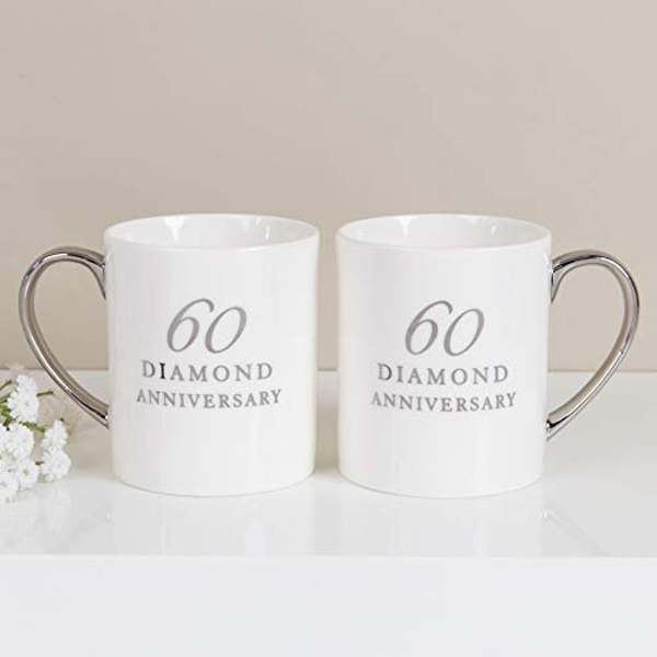 AMORE BY JULIANA? Set of 2 China Mugs - 60th Anniversary