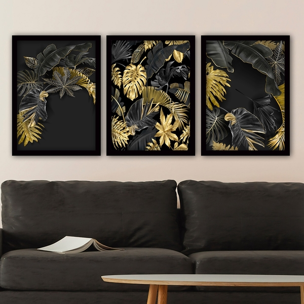 3SC92 Multicolor Decorative Framed Painting (3 Pieces)