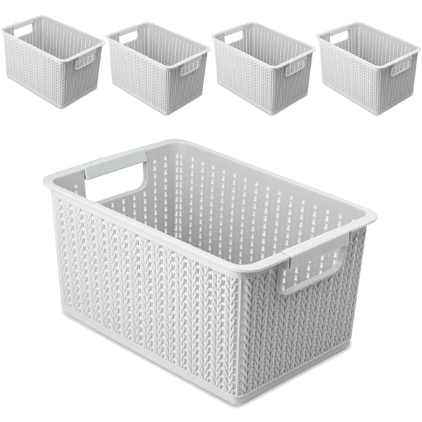 Plastic Storage Boxes - Set of 5 | Pukkr White
