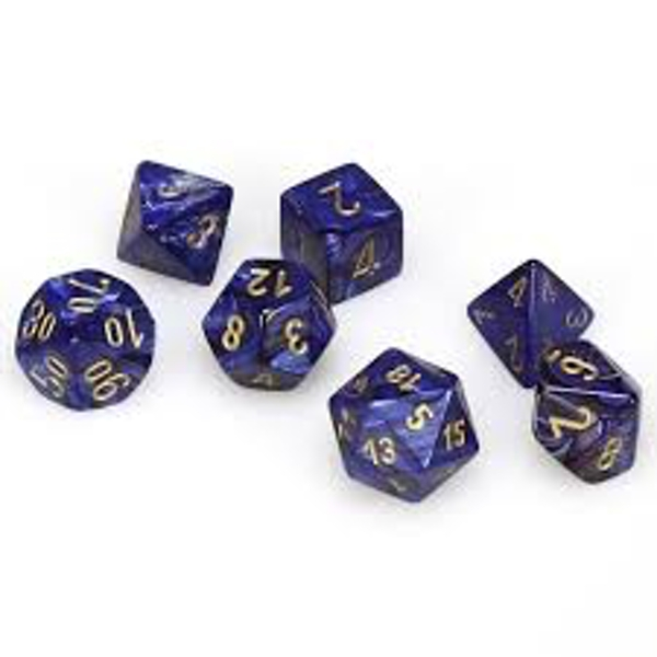 Chessex Poly 7 Dice Set: Scarab Royal Blue/gold