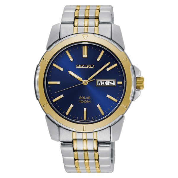 Seiko SNE502P1  Solar Powered Stainless Steel Watch with Dark Blue Dial