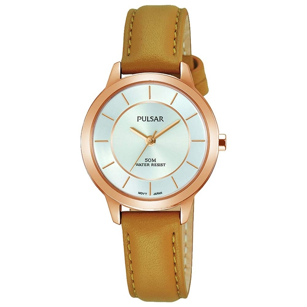 Pulsar PH8374X1 Ladies Tan Leather Strap Rose Gold Case Silver Dial 50M Watch