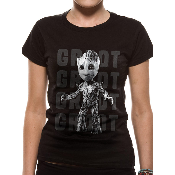 Guardians Of The Galaxy Vol 2 - Photo Groot Women's Large T-Shirt - Black
