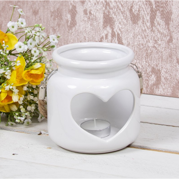 Heart Ceramic Candle Holder White 12Cm By Lesser & Pavey