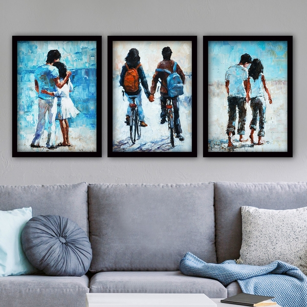 3SC80 Multicolor Decorative Framed Painting (3 Pieces)