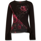 Rose Slant Blood Rose Women's Large Sash Wrap Goth Sleeve Top - Black