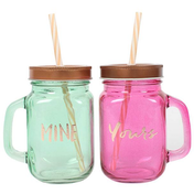 Pair of Mine and Yours Drinking Jars